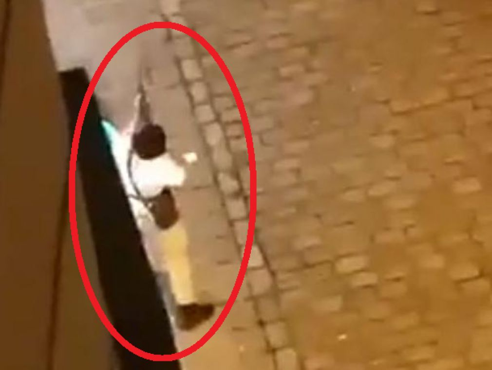 Screenshot of a video that came out earlier from the shooting in Vienna. In the image is one of possibly 3 shooters.  (Photo: PrintScreen / Twitter)